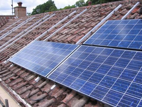 solar panels installed on the roof of a Devon cottage